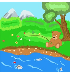 The teddy bear catches fish vector image vector image