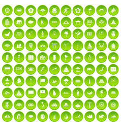 100 asian icons set green circle vector