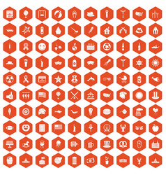 100 summer holidays icons hexagon orange vector