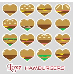 Colorful hearts hamburgers styles simple stickers vector