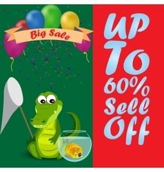 Cute crocodile or alligator sale vector