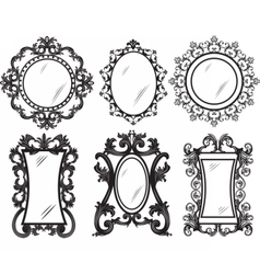 Set of vintage retro frames vector