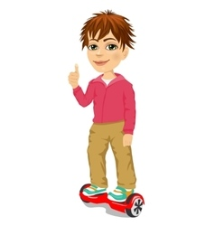 Happy teenager boy riding gyroscooter vector