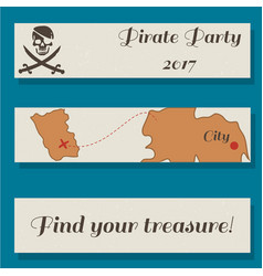 Set of flyer templates with pirate party vector