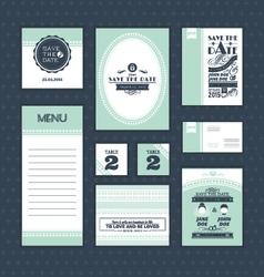 Set of vintage wedding cards vector image