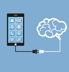 Brain and mobile phone technology vector