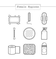 Feminine hygiene set of flat icons of care vector