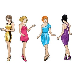 Beautiful girls in bright evening dresses 3 vector image