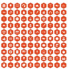 100 summer holidays icons hexagon orange vector