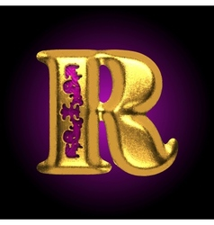 Golden letter r vector
