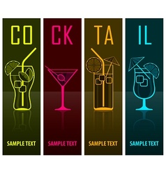 Four cocktail silhouettes on vector image