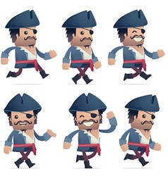 Set of pirate character in different poses vector