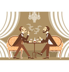 gentlemen talking and drinking alcohol in club vector image