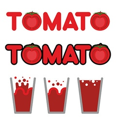 Tomato juice set of cups and mugs with tomato vector