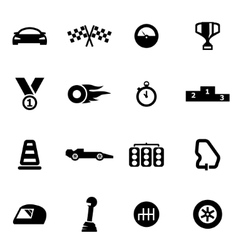 Black racing icon set vector