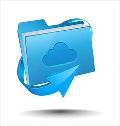 Folder with cloud computing symbol vector