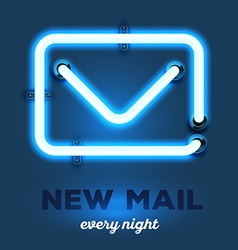 Realistic neon envelope with wires and te vector