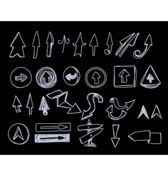 Hand-drawn arrows set on black vector