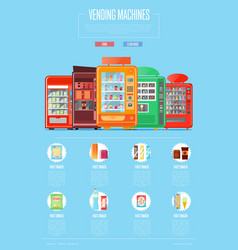 Automatic vending machine set in flat design vector