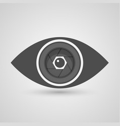 Camera lens inside the eye vector image