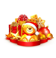 Christmas background with a teddy bear vector