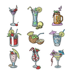 cocktail hand drawn sketch alcohol drinks vector image