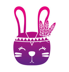 Color silhouette cute rabbit head animal with vector