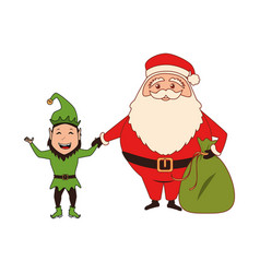 Color silhouette with santa claus with bag of vector