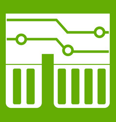 computer chipset icon green vector image