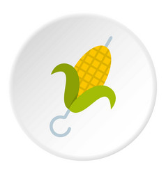 Delicious grilled corn in skewer icon circle vector