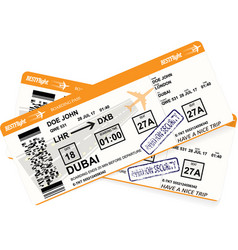 Design of aircraft boarding pass in orange colors vector