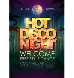 Disco poster night club vector