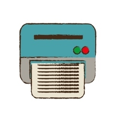 Drawing printer work office copy equipment vector