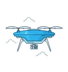Drone with action camera vector