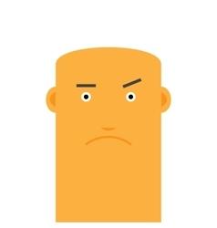 Flat bald angry face man avatar character vector