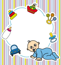 Frame baby boy vector image vector image
