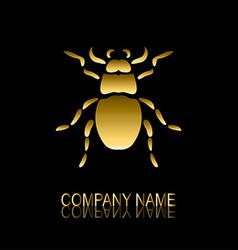 golden bug symbol vector image vector image