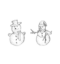 hand drawn sketch collection of two cute classic vector image vector image