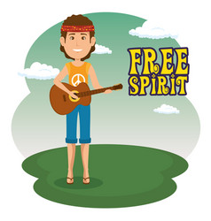 Hippie man with a guitar cartoon vector