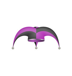 jester hat in black and purple design vector image vector image