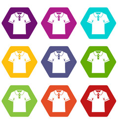 men polo shirt icon set color hexahedron vector image