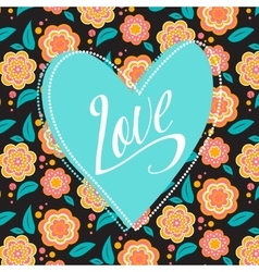 Postcard with turquoise heart on dark floral vector image vector image