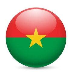 Round glossy icon of burkina faso vector