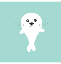 Seal pup baby harp cute cartoon character blue vector