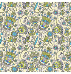 Seamless flower paisley design background vector