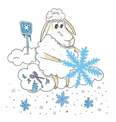 Sheep with snowflakes vector image vector image