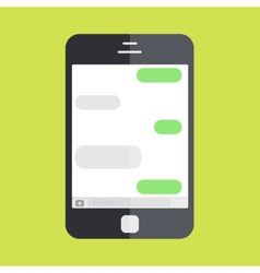 smartphone with message on green background vector image