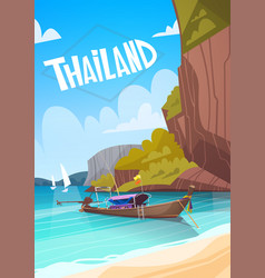 thailand landscape long tail boat seascape vector image vector image