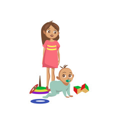 toddler boy crawling on the floor his sister vector image vector image