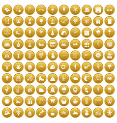 100 childrens parties icons set gold vector image vector image